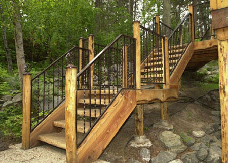 Outdoor Spiral On Above An Exterior Stairway Combines Metal Railings And